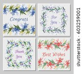 set of tropical greeting cards... | Shutterstock .eps vector #603259001
