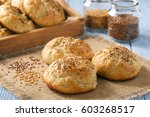 homemade bread rolls with flax... | Shutterstock . vector #603268517