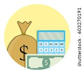 counting money icon. salary and ... | Shutterstock .eps vector #603270191