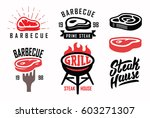 vector steak house typography... | Shutterstock .eps vector #603271307