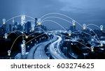 blue tone kuala lumpur...   Shutterstock . vector #603274625