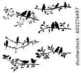 Vector Set Of Birds At Trees...