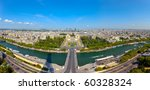 Aerial view of Paris architecture from the Eiffel tower. Photo taken on: May 18th, 2010 - stock photo