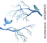 blue watercolor silhouettes of... | Shutterstock . vector #603285425