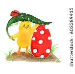 chicken and easter eggs | Shutterstock . vector #603289415