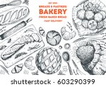 bakery top view frame. hand... | Shutterstock .eps vector #603290399