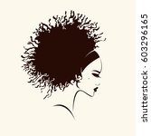 beautiful woman with curly hair ... | Shutterstock .eps vector #603296165