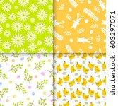 easter seamless pattern retro...   Shutterstock .eps vector #603297071