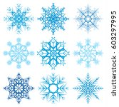 various snowflake shapes... | Shutterstock .eps vector #603297995