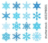 various snowflake shapes... | Shutterstock .eps vector #603298001