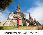 tourist woman in red costume...   Shutterstock . vector #603299291