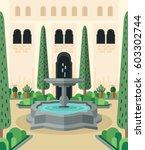 mediterranean courtyard.... | Shutterstock .eps vector #603302744