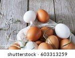 fresh chicken brown and white...   Shutterstock . vector #603313259