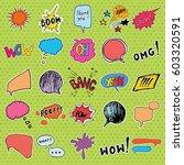 comic book speech bubbles and...   Shutterstock .eps vector #603320591