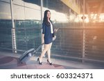 asia businesswoman on commute... | Shutterstock . vector #603324371