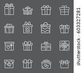gift box icons set | Shutterstock .eps vector #603327281