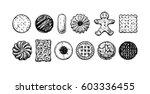 set of different tasty cookies... | Shutterstock . vector #603336455