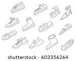 background with different shoes. | Shutterstock .eps vector #603356264