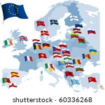 european country flags and map. ...   Shutterstock .eps vector #60336268