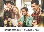 multiracial friends drinking... | Shutterstock . vector #603369761