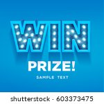 retro sign with lamp win banner.... | Shutterstock .eps vector #603373475