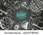 bakery top view frame. hand... | Shutterstock .eps vector #603378965