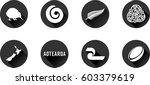 aotearoa flat icon set. vector... | Shutterstock .eps vector #603379619