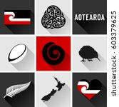 aotearoa flat icon set. vector... | Shutterstock .eps vector #603379625