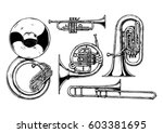 hand drawn set of brass... | Shutterstock . vector #603381695