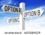 options a  b  c   wooden... | Shutterstock . vector #603384029