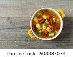 traditional potato soup. top...   Shutterstock . vector #603387074