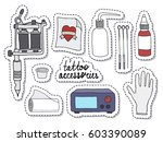 doodle icons  stickers. tattoo... | Shutterstock .eps vector #603390089