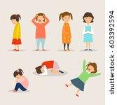 crying children. | Shutterstock .eps vector #603392594