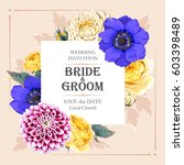 vector wedding invitation with... | Shutterstock .eps vector #603398489
