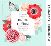 vector wedding invitation with... | Shutterstock .eps vector #603398495