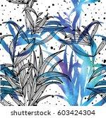seamless pattern of botany.... | Shutterstock .eps vector #603424304