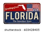 greetings from florida vintage... | Shutterstock .eps vector #603428405