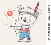cute bear indian with a bow and ... | Shutterstock .eps vector #603435041
