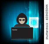 computer hacker silhouette of... | Shutterstock .eps vector #603435044