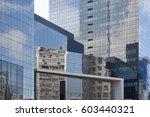 skyscrapers with glass facade.... | Shutterstock . vector #603440321