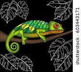 embroidery chameleon artwork...   Shutterstock .eps vector #603443171