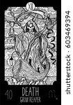 death.13 major arcana tarot... | Shutterstock .eps vector #603469394