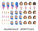 arabic little girl character... | Shutterstock .eps vector #603471161