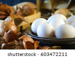 onion husks for painting eggs... | Shutterstock . vector #603472211