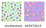 set of pattern with lemons... | Shutterstock .eps vector #603473615