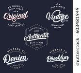 set of vintage  brooklyn  denim ... | Shutterstock .eps vector #603481949