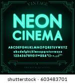 bright neon alphabet letters ... | Shutterstock .eps vector #603483701