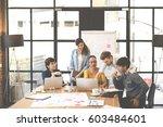 multiethnic group of happy... | Shutterstock . vector #603484601