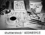 still life of office desk with... | Shutterstock . vector #603485915