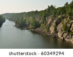 French river in Ontario, historic voyager waterway - stock photo